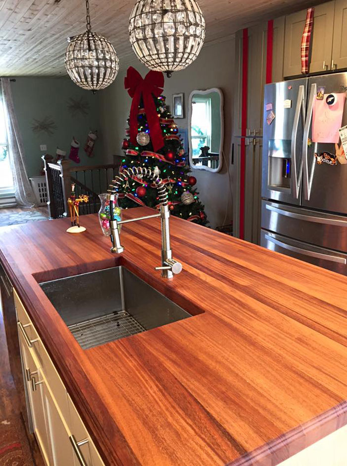 african mahogany butcher block countertop Monocoat Finish by Armani Fine Woodworking