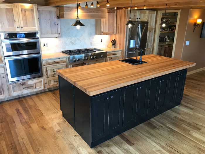 calico hickory butcher block kitchen island countertop armani fine woodworking