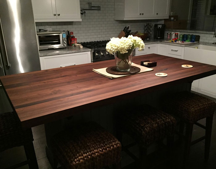 edge grain walnut butcher block countertop by armani fine woodworking