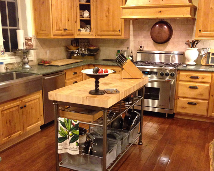 end grain hard maple butcher block island top by armani fine woodworking