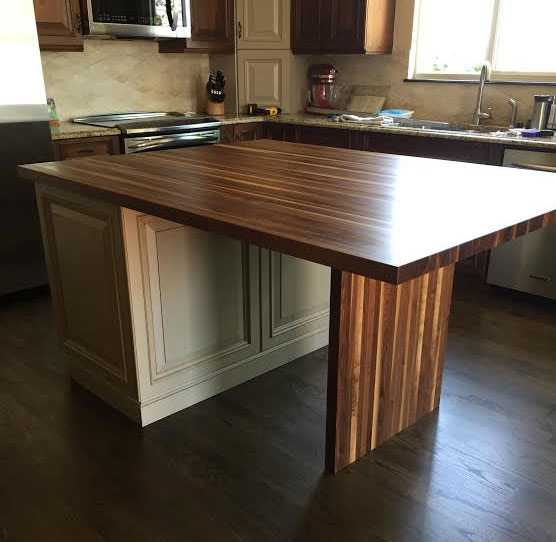 rustic walnut kitchen island countertop by armani fine woodworking