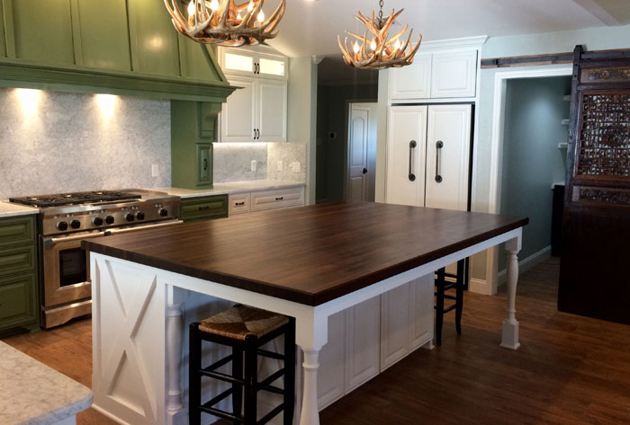 White Kitchen Island With Walnut Butcher Block Countertop : Wood Countertop and Butcher Block Countertop Gallery
