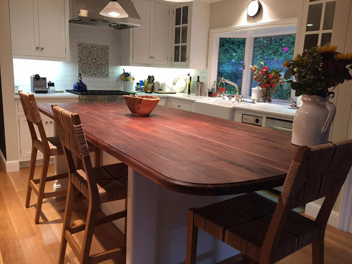 wide plank walnut wood countertop by armani fine woodworking